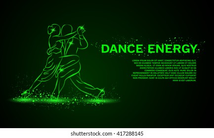 Tango in the night. Vector neon background with space for text.