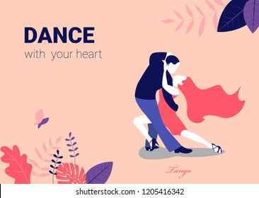 Tango Poster. Elegant couple dancing tango. Vector illustration
