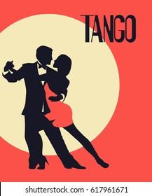 Tango Poster. Elegant couple dancing tango. Retro style