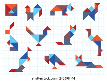 tangram animals birds