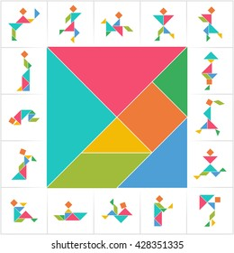 Tangram (Chinese dissection puzzle), people. Set of cards for kids board game. Silhouettes of men, women and children made of seven pieces - geometric shapes: triangles, square, parallelogram. Vector