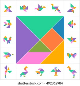 Tangram, Chinese dissection puzzle. Set of cards for kids board game. Bird, flower, butterfly, fish, star made of seven elements (tans) - geometric shapes: triangles, square, parallelogram. Vector