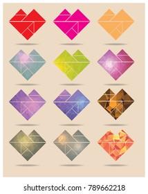 tangram heart polygon geometric collection, vector eps 10.