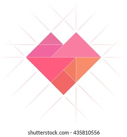 Tangram heart shape. Abstract geometric art. Heart symbol made of tiling tangram puzzle pieces, geometric shapes: triangles, square, parallelogram. Vector