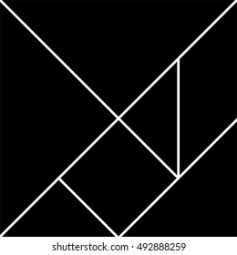 Tangram pieces, abstract geometric background