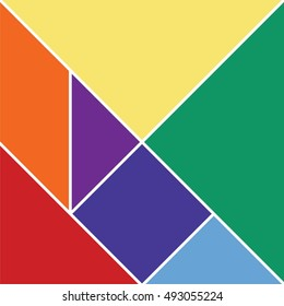 Tangram puzzle, abstract geometric background