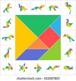 Tangram, puzzle game. Set of cards for kids activity that helps to learn geometric shapes. Animals (horse, camel, fox, bear, lion), birds and fishes made of triangles, square and parallelogram. Vector
