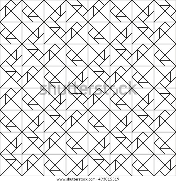 タングラムパズルパターン線描き抽象的な幾何学的な背景の