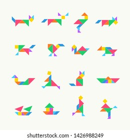 Tangram puzzle square set. Vector triangle geometric tangram template illustration chinese traditional.