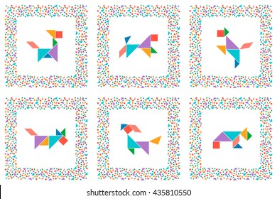 photo regarding Printable Tangram Pieces referred to as Tangram Doggy Pics, Inventory Illustrations or photos Vectors Shutterstock