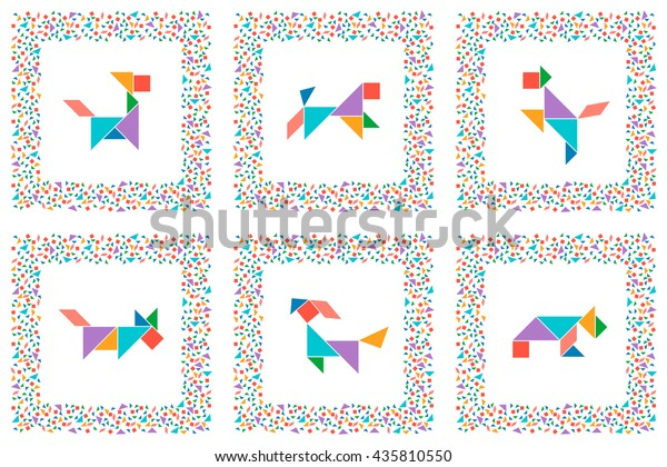 photograph about Game Pieces Printable titled Tangram Preset Printable Playing cards Chinese Dissection Inventory Vector