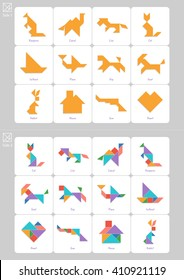 Tangram set, task and answer cards with captions in English. Chinese dissection puzzle, board game for kids. Kangaroo, camel, house, lion, cat, plane, dog, goat, heart made of geometric shapes. Vector