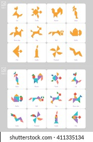 Tangram set, task and solution cards with captions in English. Chinese dissection puzzle, board game for kids. Cat, turtle, rooster made of geometric shapes: triangles, square, parallelogram. Vector
