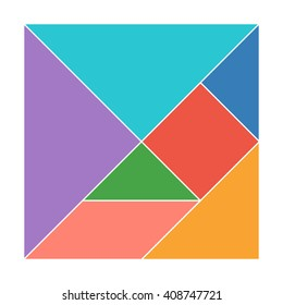 Tangram. Traditional Chinese dissection puzzle, seven tiling pieces - geometric shapes: triangles, square (rhombus), parallelogram. Board game for kids that helps to develop analytical skills. Vector