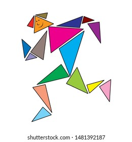 Tangram vector isolated - Tangram people colored