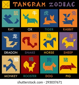 Tan-gram Zodiac Vector - Color variation, Chinese Zodiac