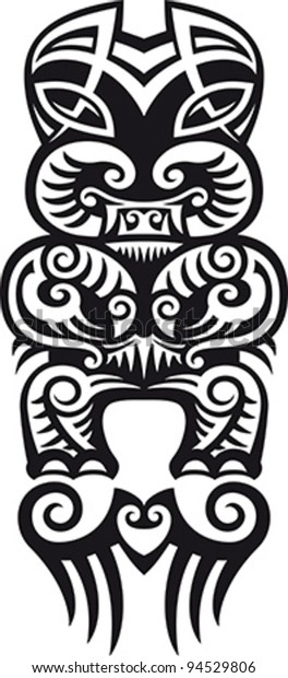 b6c4c4072 Taniwha the monster. Maori styled tattoo design. Vector illustration.