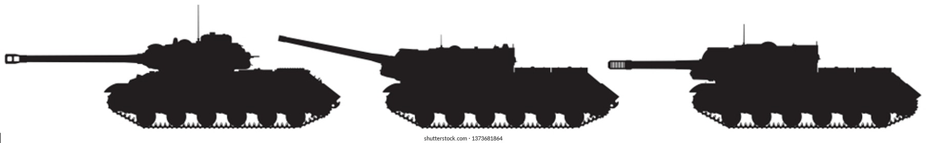 Tank and tank destroyers vector silhouettes, WW2 Soviet heavy tank IS-2 and self-propelled artillery units anti-tank assault guns ISU-122 and ISU-152 from Joseph Stalin IS tank series