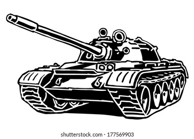 Tank drawing on white background