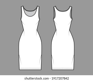 Tank dress technical fashion illustration with scoop neck, straps, knee length, fitted body, Pencil fullness. Flat apparel template front, back, white color. Women, men, unisex CAD mockup