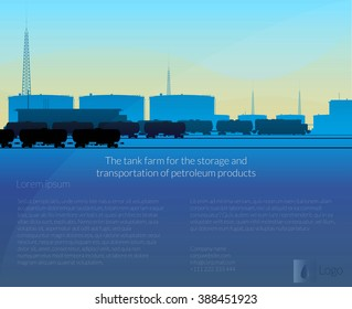 tank farm and a train carrying oil / tank farm for the storage of petroleum products and a train of tank cars carrying products