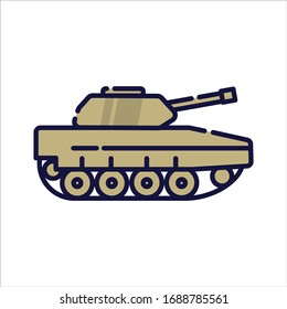 Tank filled-outline simple icon in white isolated background. Military vehicle clip art.