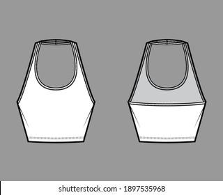 Tank halter scoop neck Crop top technical fashion illustration with slim fit, waist length. Flat apparel outwear template front, back, white color. Women men unisex CAD mockup
