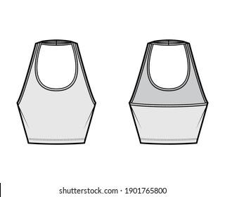 Tank halter scoop neck Crop top technical fashion illustration with slim fit, waist length. Flat apparel outwear template front, back, grey color. Women men unisex CAD mockup