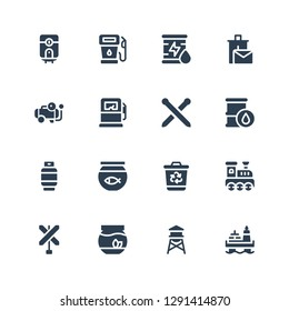 tank icon set. Collection of 16 filled tank icons included Oil, Water tower, Fishbowl, Railroad, Recycling bin, Fish bowl, Gas, Knitting neddles, Gas pump, Compressor, Recycle bin