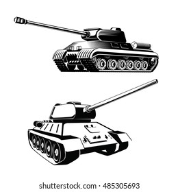 Tank isolated on white background. Vector Military machine. Tank logotype. Black and white tank icon.
