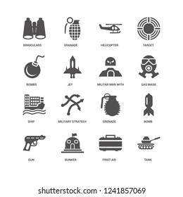 Tank, Jet, Binoculars, Granade, Bomb, Grenade, Military strategy sketch, First aid icon 16 set EPS 10 vector format. Icons optimized for both large and small resolutions.