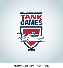 Tank logo template. Tank logotype template design, vector illustration. Badge logo, military  t-shirt graphic design.