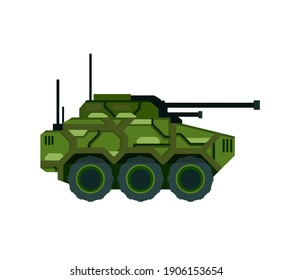 Tank. Military vehicle with a big gun. Camouflage armored vehicles. Weapons for modern warfare. Flat cartoon illustration