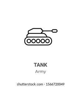 Tank outline vector icon. Thin line black tank icon, flat vector simple element illustration from editable army concept isolated on white background