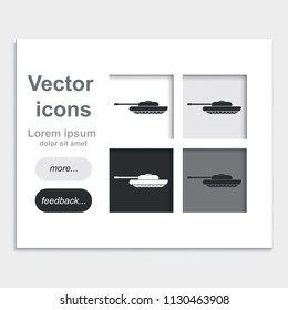 Tank placed on web page template flat vector icon.