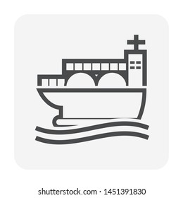 Tank ship or LNG carrier icon. Also called LNG tanker. Consist of LNG tank container, ship and natural gas (methane and ethane) cooled down to liquid (LNG) for storage, transport or delivery. 64x64 px