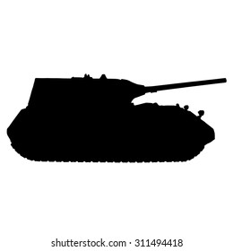 The tank silhouette in profile. German super heavy tank Maus. Isolated on white background. Vector illustration.