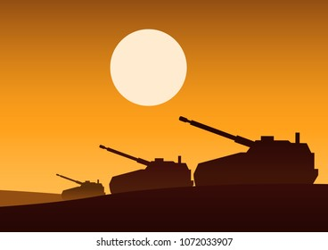tank still on desert to attack enemy,silhouette design,vector illustration