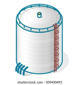 Tank for storing water, gas, oil, oxygen and other solid fuels. Part of waste water treatment plant, WWTP. Isometric vector symbol for water management, gasometer or deal with fuel and drinking water.