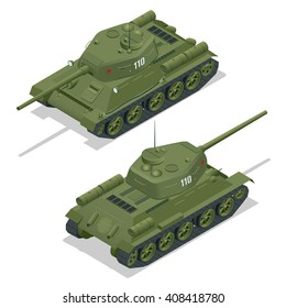 Tank T 34 85. Military Transportation. A tank is an armoured fighting vehicle designed for front-line combat, with heavy firepower, strong armour, and tracks providing good battlefield manoeuvrability