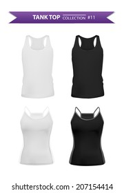 Tank top realistic set, black and white tops for men and women, vector eps10 included