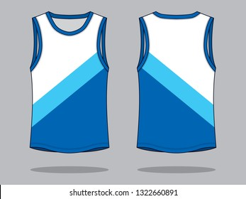 Tank Tops Design (White / Blue) : Color Level