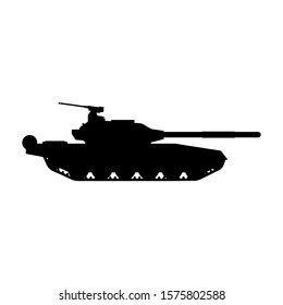Tank trendy style vector silhouette icon illustration sign isolated on white background for military, army and war
