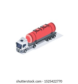 Tank truck, Flammability gasoline. Vector 3d isometric, color web icon, new flat style. Creative illustration design, idea for infographics.