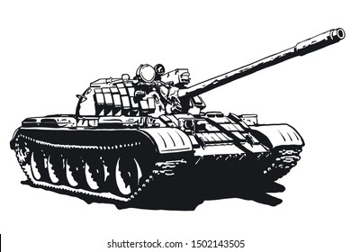 Tank vector isolated illustration. Military machine logotype. Black and white icon.