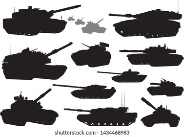 Tank vector silhouettes collection. EPS 10