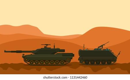 tank war desert warrior with mountain background vector graphic illustration