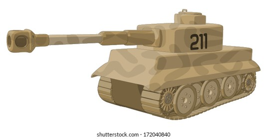 Tank (WW2) -  Vector Artwork (isolated on white background).