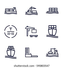 tanker icons set. Set of 9 tanker outline icons such as cargo terminal, cargo truck, cargo ship