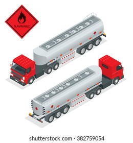 Tanker Truck to transport fuel in industrial petroleum plant isometric illustration.